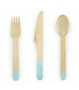 18 Wooden Cutlery Mint Green