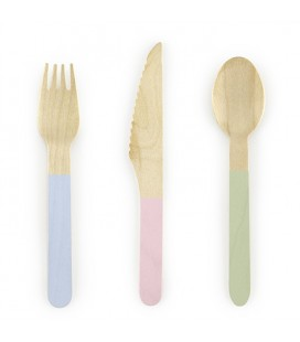 18 Wooden Cutlery Mix
