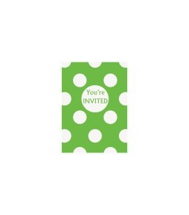 Lime Polka Dots Invitations
