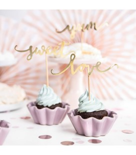 6 Cupcake Toppers Love Yum Sweet Gold