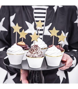 6 Cupcake Toppers Star Gold