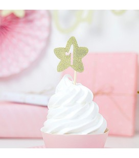 """6 Cupcake Toppers Star Gold """"One"""""""