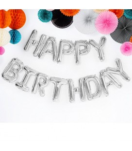 Happy Birthday Silver Letters Mylar Balloons
