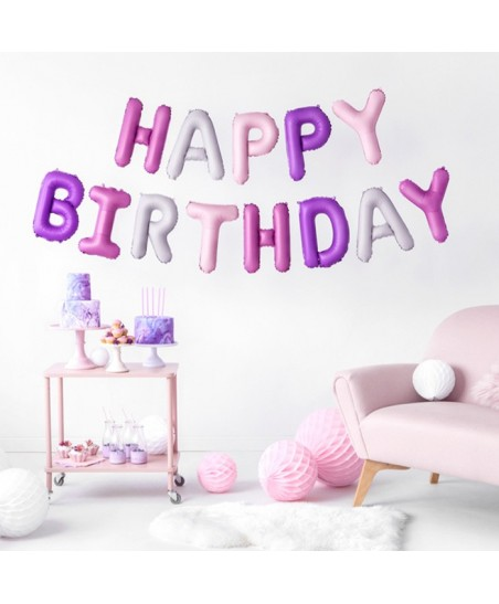 Happy Birthday Pink Mix Letters Mylar Balloons