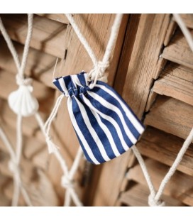 5 Cotton Pouches - Navy Striped
