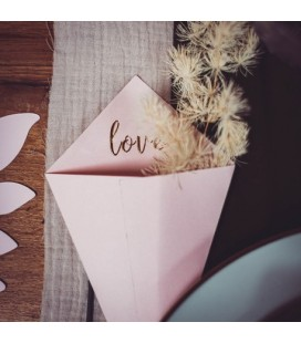 "10 Powder Pink ""Love"" Cones"