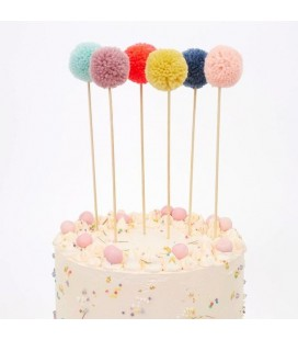 6 Cake Toppers Pompon